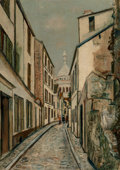 Paintings, Maurice Utrillo (French, 1883-1955). Rue Saint-Rustique, Montmartre, circa 1919. Oil on canvas. 26-1/4 x 19 inches (66.7...