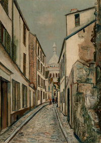 Maurice Utrillo (French, 1883-1955) Rue Saint-Rustique, Montmartre, circa 1919 Oil on canvas 26-1