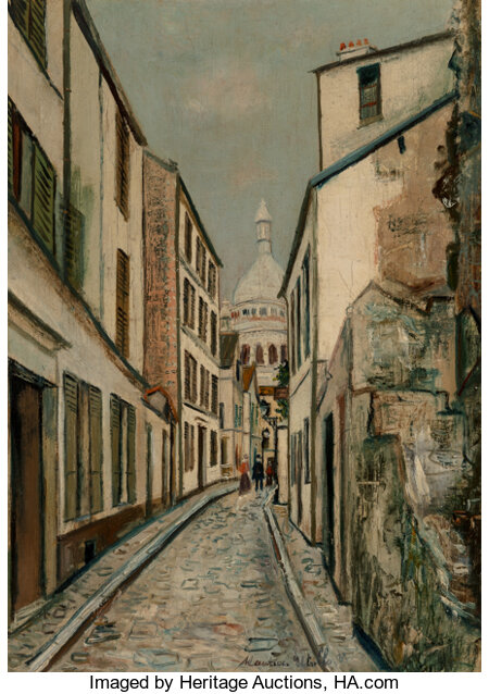 Maurice Utrillo (French, 1883-1955) Rue Saint-Rustique, Montmartre, circa 1919 Oil on canvas 26-1/4 x 19 inches (66.7...