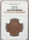 Large Cents, 1804 1C Restrike MS64 Brown NGC. NGC Census: (2/1). PCGS Population: (11/13). ...