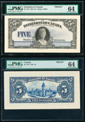 Canada Dominion of Canada $5 26.5.1924 DC-27P Front and Back Proofs PMG Choice Uncirculated 64 (2)