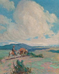 Oscar Edward Berninghaus (American, 1874-1952) Open Country Oil on board 28 x 22 inches (71.1 x 5