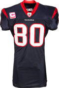 Football Collectibles:Uniforms, 2009 Andre Johnson Game Worn & Unwashed Houston Texans Jersey, Photo Matched to 10/11 vs. Cardinals in 2 Touchdown Performance...