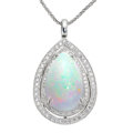 Estate Jewelry:Pendants and Lockets, Opal, Diamond, White Gold Pendant-Necklace. ...
