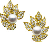 Cultured Pearl, Diamond, Gold Earrings
