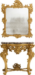 Furniture, An Italian Louis XV-Style Carved Gilt Wood Marble Top Console and Mirror, 19th century . 36 x 40 x 20-1/2 inches (91.4 x 101... (Total: 2 Items)