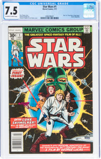 Star Wars #1 (Marvel, 1977) CGC VF- 7.5 Off-white to white pages