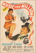 "Movie Posters:Comedy, Music for Millions (MGM, 1945). Folded, Fine-. One Sheet (27"" X 41""). Comedy.. ..."
