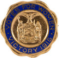 Political:Pinback Buttons (1896-present), Woman's Suffrage: New York State Ballot Measure Brass & Enamel Badge. ...