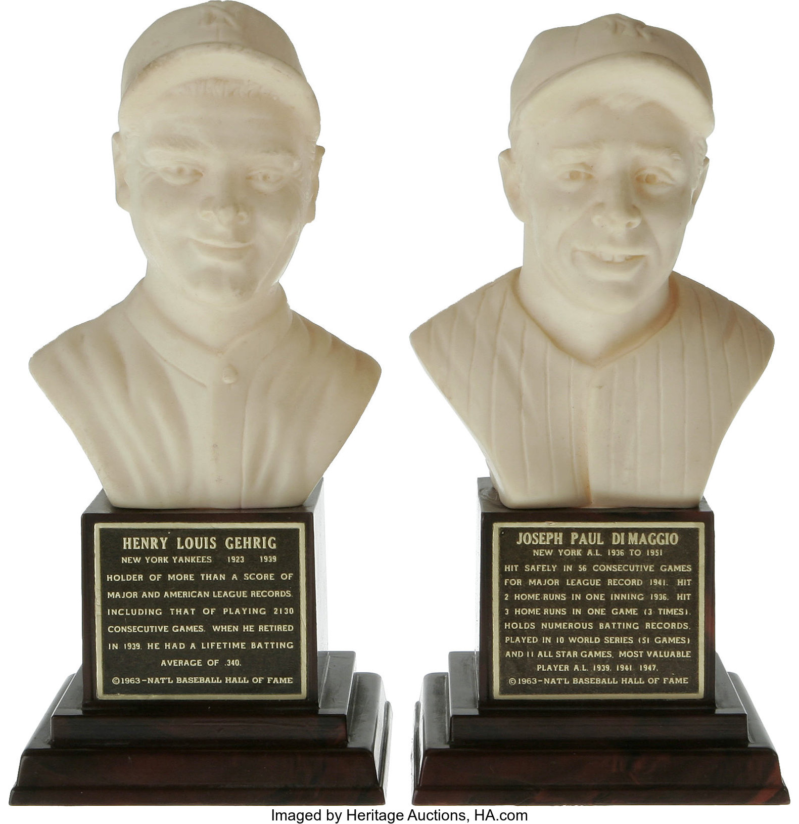 1963 Lou Gehrig and Joe DiMaggio Mini Hall of Fame Busts Lot