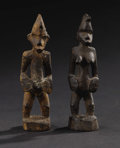 African: , Senufo (Côte d'Ivoire). Male and female figures. Wood with encrusted patina. Height: 4 inches Width: 1 ¼ inches Depth: 1 ...