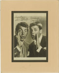 "Movie/TV Memorabilia:Autographs and Signed Items, Jerry Lewis and Dean Martin Signed Photo. A b&w 5"" x 7"" photoinscribed and signed by the iconic comedy duo in black ink and..."