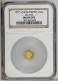 California Fractional Gold: , 1876 50C Indian Octagonal 50 Cents, BG-949, R.4, MS64 Deep MirrorProoflike NGC. NGC Census: (3/0). PCGS Population (28/5)....