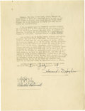 Movie/TV Memorabilia:Autographs and Signed Items, Howard Hughes Signed Liability Contract. This historic documentrepresents Hughes' official permission from the City of New ...