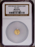 California Fractional Gold: , 1874 25C Indian Round 25 Cents, BG-876, Low R.4, MS65 ProoflikeNGC. NGC Census: (3/2). PCGS Population (12/0). (#10737)...