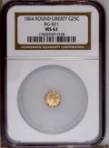 California Fractional Gold: , 1864 25C Liberty Round 25 Cents, BG-821, Low R.5, MS61 NGC. NGCCensus: (2/0). PCGS Population (6/13). (#10682)...