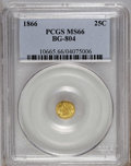 California Fractional Gold: , 1866 25C Liberty Round 25 Cents, BG-804, R.4, MS66 PCGS. PCGSPopulation (3/0). NGC Census: (1/0). (#10665)...