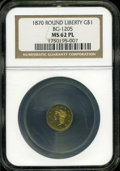 California Fractional Gold: , 1870 $1 Goofy Head Round 1 Dollar, BG-1205, High R.4, MS62Prooflike NGC....