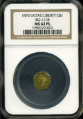 California Fractional Gold: , 1870 $1 Goofy Head Octagonal 1 Dollar, BG-1118, Low R.5, MS62Prooflike NGC....
