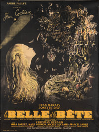 "La Belle et la Bete (DisCina, R-1951). Fine on Linen. Trimmed Full-Bleed French Grande (45.5"" X 61"") Jean-Deni..."