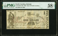 Raleigh, NC- State of North Carolina $1 Oct. 5, 1861 Cr. 29 PMG Choice About Unc 58 EPQ