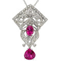 Estate Jewelry:Necklaces, Pink Tourmaline, Diamond, White Gold Pendant-Necklace . ...