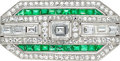 Estate Jewelry:Brooches - Pins, Art Deco Diamond, Synthetic Emerald, Platinum Pendant-Brooch, Bert H. Satz. ...