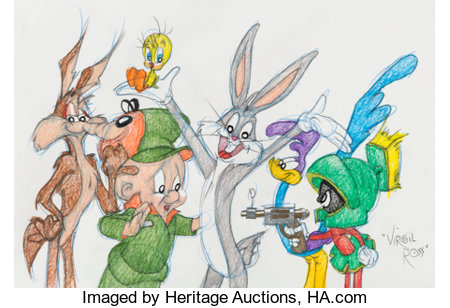 Virgil Ross - Bugs Bunny and Friends Drawing Original Art (Warner Brothers, c. 1990s)....