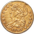Early Half Eagles, 1810 $5 Large Date, Large 5, BD-4, R.2 -- Scrape --PCGS Genuine. XF Details....
