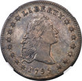 1795 $1 Flowing Hair, Three Leaves, B-6, BB-25, R.3 -- Obverse Scratched -- NGC Details. AU....(PCGS# 39975)