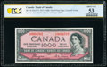 "World Currency, Canada Bank of Canada $1000 1954 Pick 73 BC-36 ""Devil's Face"" PCGS Banknote About UNC 53.. ..."