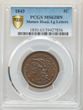 Large Cents, 1843 1C Mature Head, Large Letters, N-5, R.1, MS63 Brown PCGS....