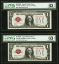 Fr. 1500 $1 1928 Legal Tender Notes. Two Consecutive Examples. PMG Choice Uncirculated 63 EPQ