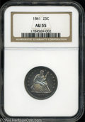 Seated Quarters: , 1841 25C AU55 NGC. Electric blue and violet fields ...