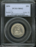 Seated Quarters: , 1850 25C MS62 PCGS. Typically marked with exceptional ...