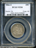 Seated Quarters: , 1866-S 25C VF30 PCGS. This is a lovely example for the ...