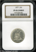Proof Seated Quarters: , 1877 25C PR65 Cameo NGC. This lovely white proof presents ...