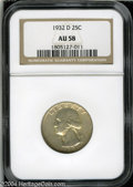 Washington Quarters: , 1932-D 25C AU58 NGC. Lightly worn on the highpoints, with ...