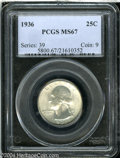 Washington Quarters: , 1936 25C MS67 PCGS. This Superb Gem is tied for finest ...