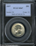 Washington Quarters: , 1937 25C MS67 PCGS. A snow-white Superb Gem with booming ...