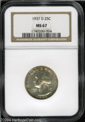 Washington Quarters: , 1937-D 25C MS67 NGC. A smattering of rich amber toning is ...