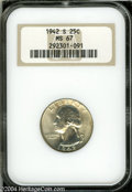 Washington Quarters: , 1942-S 25C MS67 NGC. Brilliant and mostly white with no ...