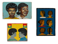 African School Hair Salon and Coiffeur Signs, Burkina Faso and Lomé, Togo Paint, plywood, metal