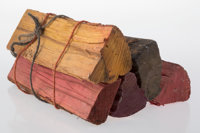 Sam Falls (American, b. 1984) Untitled (firewood pile, new york city, 10014), 2012 Five pieces of hand-dyed firewood...