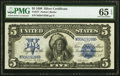 Large Size:Silver Certificates, Fr. 277 $5 1899 Silver Certificate PMG Gem Uncirculated 65 EPQ.. ...