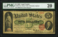 Large Size:Legal Tender Notes, Fr. 63b $5 1863 Legal Tender PMG Very Fine 20.. ...