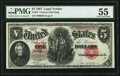 Large Size:Legal Tender Notes, Fr. 84 $5 1907 Legal Tender PMG About Uncirculated 55.. ...