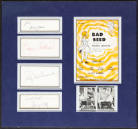 The Bad Seed (Fireside Theatre, c. 1954). Very Fine/Near Mint. Matted Autographed Cards (4) & Theater Program (15&qu...