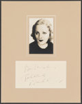 "Movie Posters:Miscellaneous, Tallulah Bankhead (1930s). Very Fine+. Matted Autographed Card with Photo (11"" X 14""). Miscellaneous.. ..."