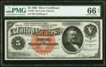 Large Size:Silver Certificates, Fr. 262 $5 1886 Silver Certificate PMG Gem Uncirculated 66 EPQ.. ...